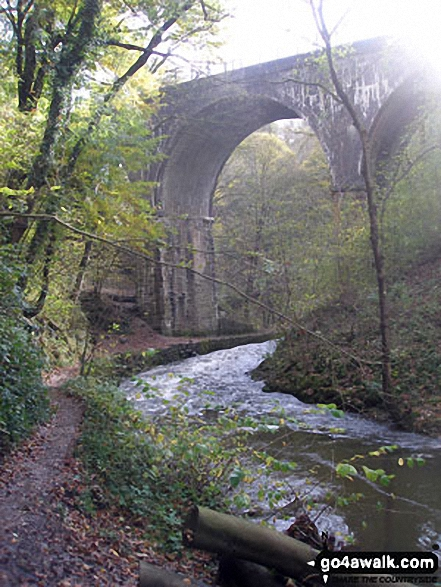 Viaduct over The River Wye in Chee Dale. Walk route map d249 The Monsal Trail, Miller's Dale and Chelmorton from Wye Dale photo
