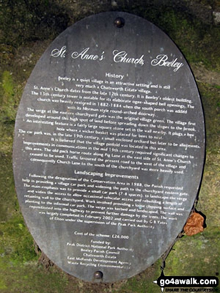 Plaque detailing the history of St Anne's Church, Beeley