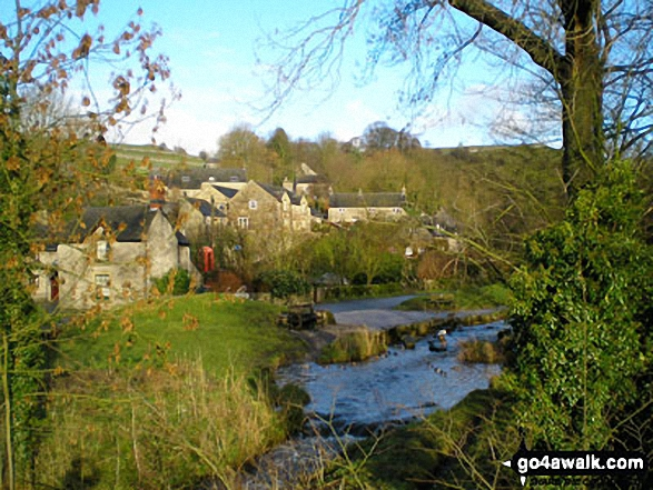 Milldale Village, . Walk route map s125 Alstonefield, Wetton, Castern Wood Nature Reserve and The River Dove from Milldale photo
