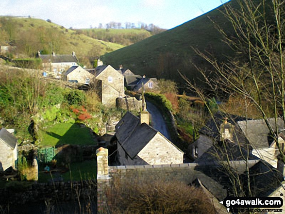 Milldale Village from Achas Bank, . Walk route map s125 Alstonefield, Wetton, Castern Wood Nature Reserve and The River Dove from Milldale photo