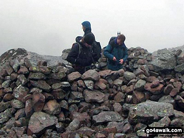 Helena and Janet celebrating at the summit of Goatfell (Goat Fell) on the Isle of Arran