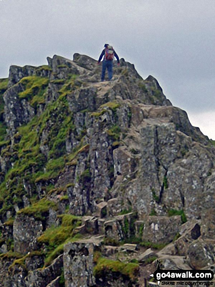 Pete approaching one of the high points of Striding Edge A brilliant day