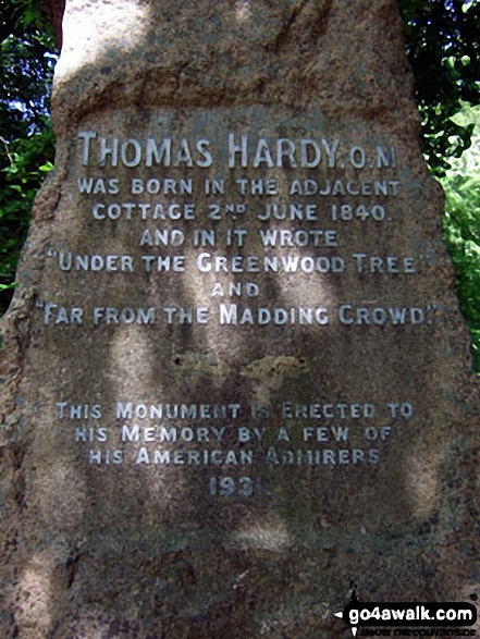 Thomas Hardy memorial stone near his birthplace in Higher Bockhampton