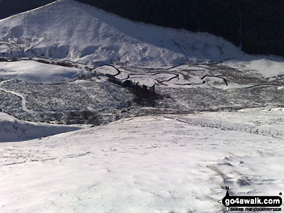 Alport Dale from Alport Castles in the snow