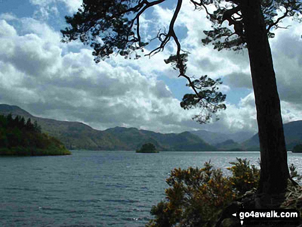 Looking South across Derwent Water from Friar's Crag. Walk route map c265 A Circuit of Derwent Water from Keswick photo