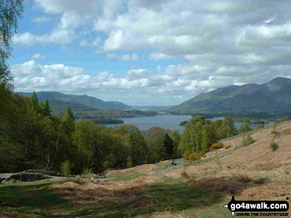 Looking North-West up Derwent Water from just above Ashness Bridge. Walk route map c201 Ashness Bridge and Walla Crag from Keswick photo