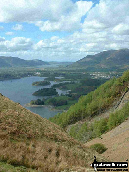 Derwent Water, Keswick and beyond from Walla Crag. Walk route map c201 Ashness Bridge and Walla Crag from Keswick photo