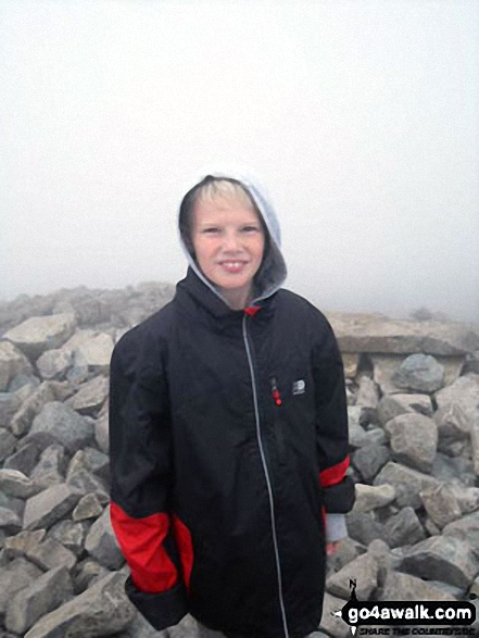 My son on his first boys mountain climb up Scafell Pike with his Dad and Grandad