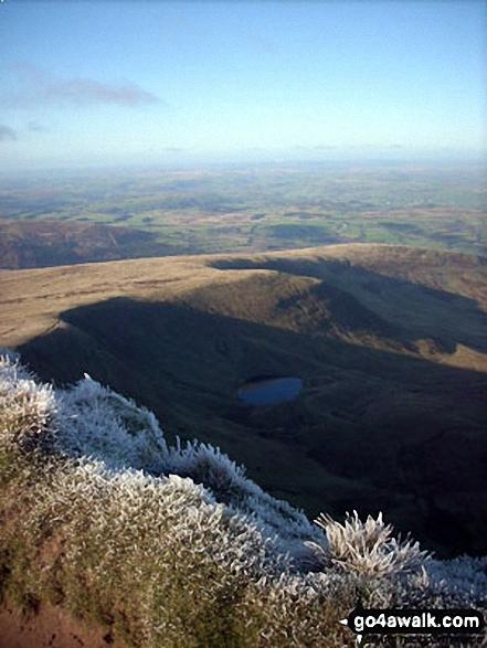 Llyn Cwm Llwch from Pen y Fan. Walk route map po158 Pen y Fan from The Storey Arms Outdoor Centre photo