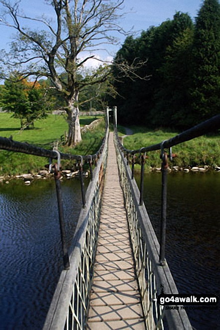 Suspension footbridge over the River Wharf near Hebden