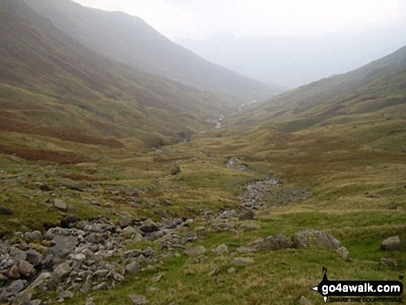 Looking back up Langstrath to the the head of Allencrags Gill
