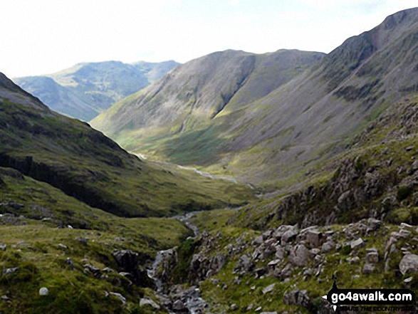 Kirk Fell and the shoulder of Great Gable (right) with the lower slopes of Great End (left) and Red Pike (Wasdale) in the distance from Sty Head. Walk route map c141 Great Gable and Pillar from Wasdale Head, Wast Water photo