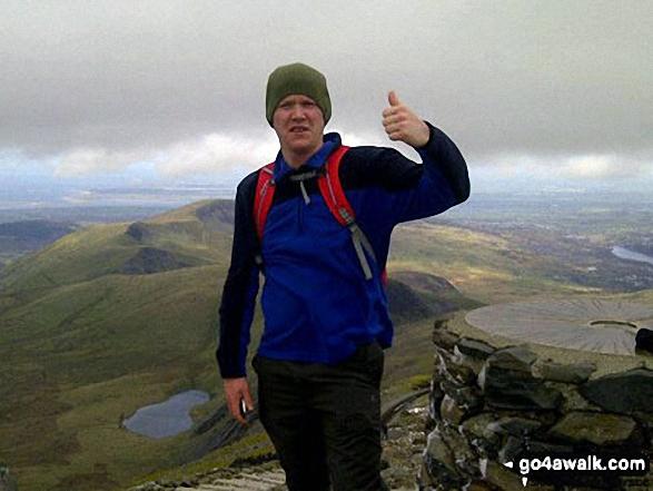 On the summit of Mount Snowdon. Walk route map gw134 Mount Snowdon (Yr Wyddfa) avoiding Crib Goch from Pen y Pass photo