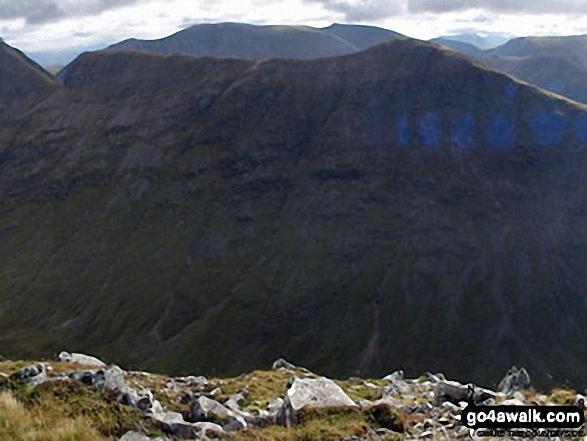 Stob Coire Altruim (Buachaille Etive Mor) & Stob na Broige (Buachaille Etive Mor) with Clach Leathad (Creise), Creise & Stob A' Ghlais Choire (Creise) beyond from the summit of Buachaille Etive Beag (Stob Dubh)