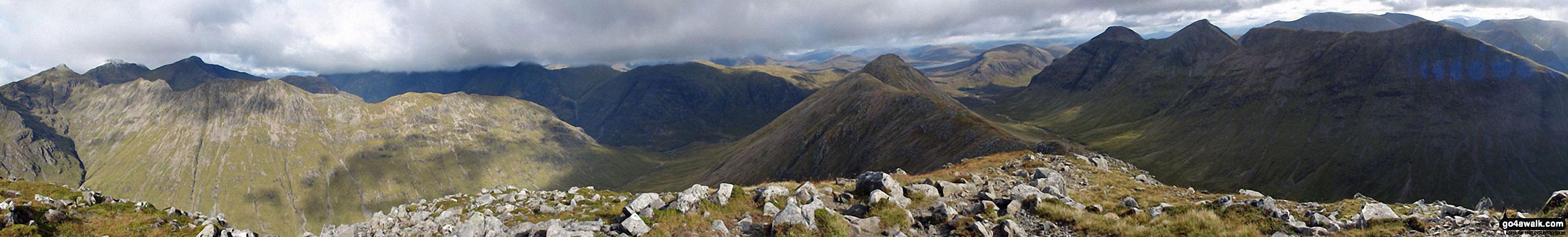 Stob Coire Sgreamhach (left) & Beinn Fhada (Stob Coire Sgreamhach) (foreground - left) with Bidean nam Bian & Stob Coire nam Beith (in shadow behind), Stob Coire Raineach (Buachaille Etive Beag) (centre), Buachaille Etive Mor (Stob Dearg), Stob na Doire (Buachaille Etive Mor), Stob Coire Altruim (Buachaille Etive Mor) & Stob na Broige (Buachaille Etive Mor) (right) with Clach Leathad (Creise), Creise & Stob A' Ghlais Choire (Creise) behind from the summit of Buachaille Etive Beag (Stob Dubh)