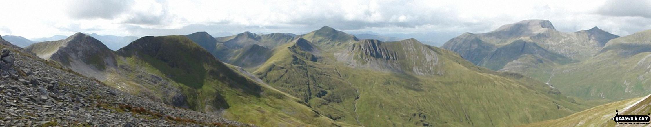 Na Gruagaichean, Na Gruagaichean (North West Top), The Ring of Steall, Stob Coire a' Chairn, Sgurr a' Mhaim, An Garbhanach (An Gearanach), Ben Nevis and Carn Mor Dear from Binnein Mor in the Eastern Mamores