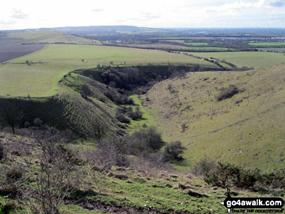 Incombe Hole and The Chiltern Hills from The Ridgeway on Steps Hill