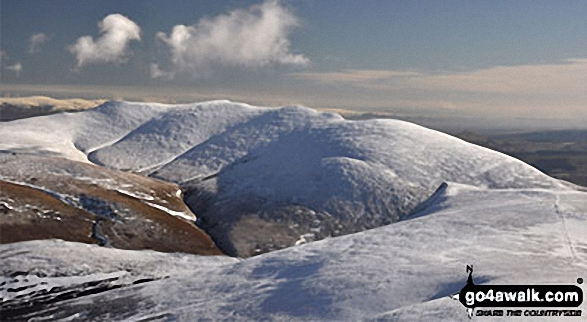 Blencathra or Saddleback under a blanket of snow from Skiddaw. Walk route map c236 Skiddaw from Millbeck, nr Keswick photo