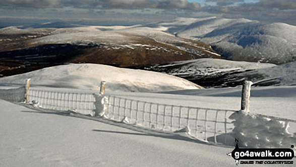 Frozen Fence on a snow covered Skiddaw. Walk route map c236 Skiddaw from Millbeck, nr Keswick photo