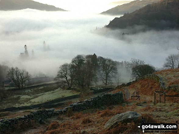 Temperature Inversion in the Rydal Valley from near Heron Pike. Walk route map c247 The Fairfield Horseshoe from Ambleside photo