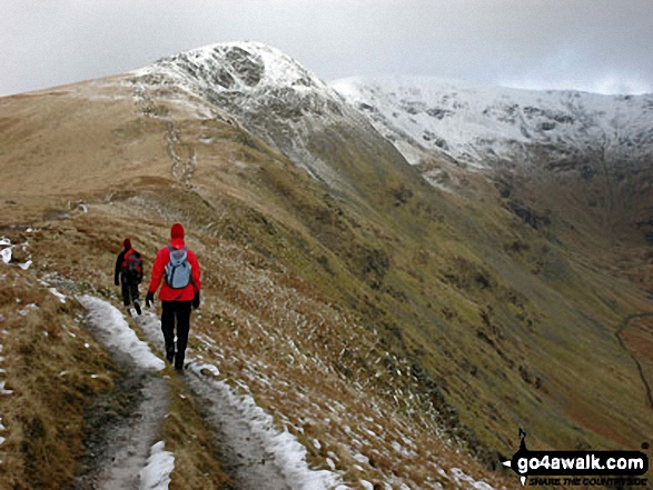 Approaching Heron Pike with Fairfield beyond. Walk route map c247 The Fairfield Horseshoe from Ambleside photo