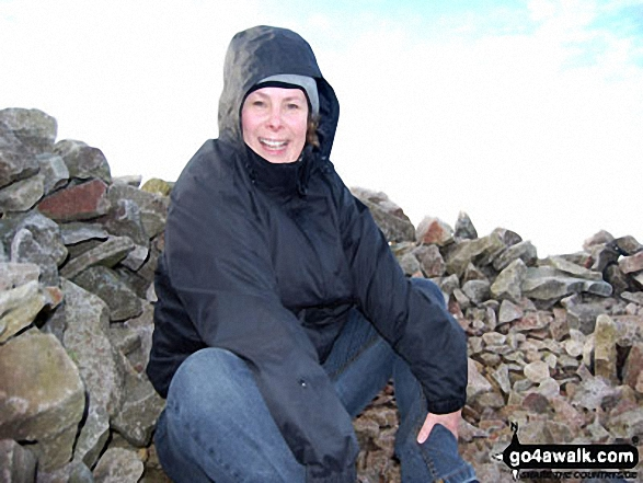 Susan Hood on Carnethy Hill summit, The Pentland Hills