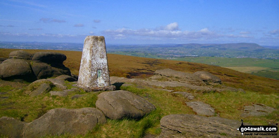 Pendle Hill (right) on the horizon from the summit of Lad Law (Boulsworth Hill)