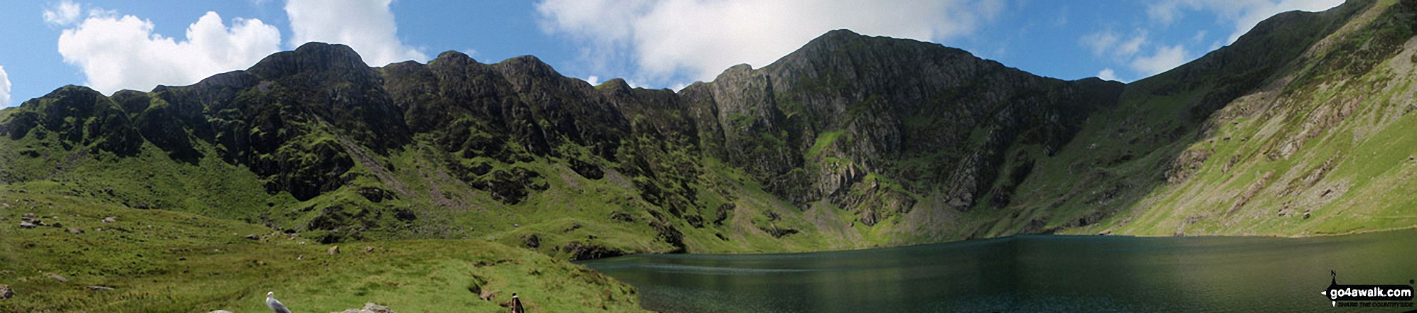 Craig Cwm Amarch (left), Craig Cau and Cadair Idris (Penygadair)(right) from The Minffordd Path at Llyn Cau