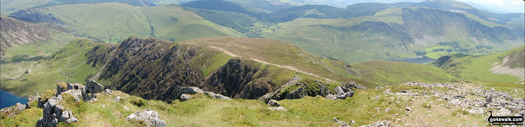 The Minffordd Path where it crosses Craig Lwyd above Llyn Cau from Craig Cwm Amarch