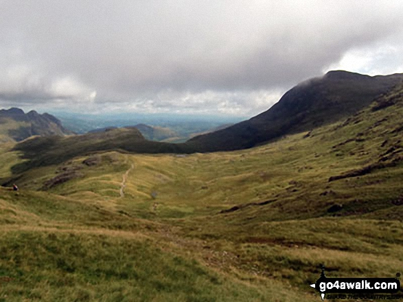 The Langdale Pikes (left), Rossett Pike (foreground left) and Esk Pike (right) from Esk Hause