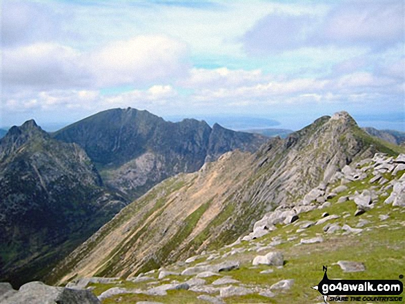 Looking back towards North Goatfell while approaching Goatfell summit this summer with Cir Mhor and The Saddle (mid-ground left) and Casteal Abhail and Ceum na Caillich (Witche's Step) visible beyond