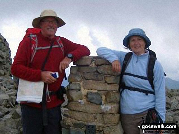 Pete and Alison on the summit of Scafell Pike. Walk route map c215 Scafell Pike from Seathwaite photo