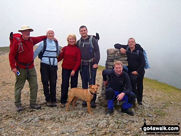 Walk c192 Helvellyn Ridge from Glenridding - At the summit of Helvellyn during a recent family get together