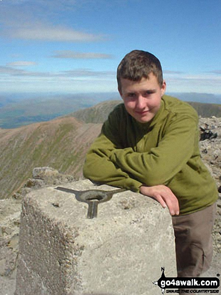 My son Craig on Ben Nevis. Walk route map h137 Ben Nevis and Carn Mor Dearg from Achintee, Fort William photo