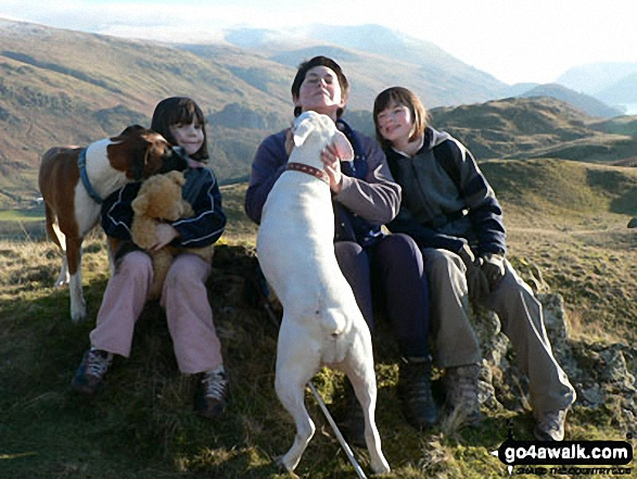 Beth, Grace and Geraldine (and the dogs) on High Rigg, St. John