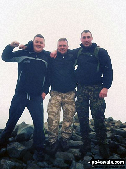 Me with Stuart Nicholson and Ryan McDowell on Scafell Pike.. Walk route map c215 Scafell Pike from Seathwaite photo