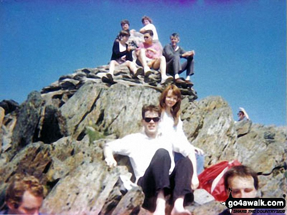 Friends on Mount Snowdon (Yr Wyddfa). Walk route map gw110 Snowdon via The Snowdon Ranger Path photo