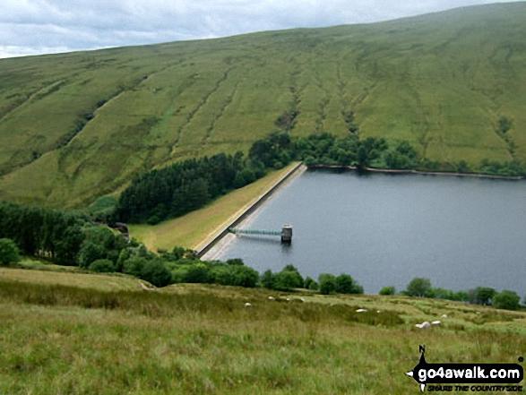 Ystradfellte Reservoir from Fan Fawr with Fan Llia rising beyond