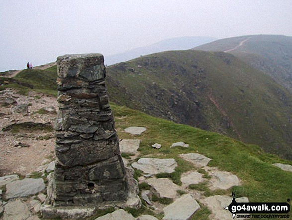 The Ordnance Survey Triangulation Piller on the summit of The Old Man of Coniston