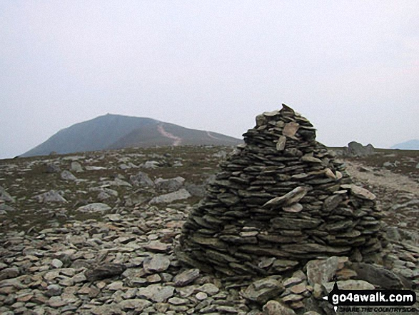 Walk c420 The Coniston Fells from Walna Scar Road, Coniston - The huge summit cairn on Brim Fell