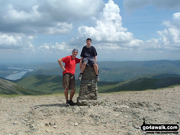 Joe and Kevin Marshall on Helvellyn in The Lake District Cumbria England