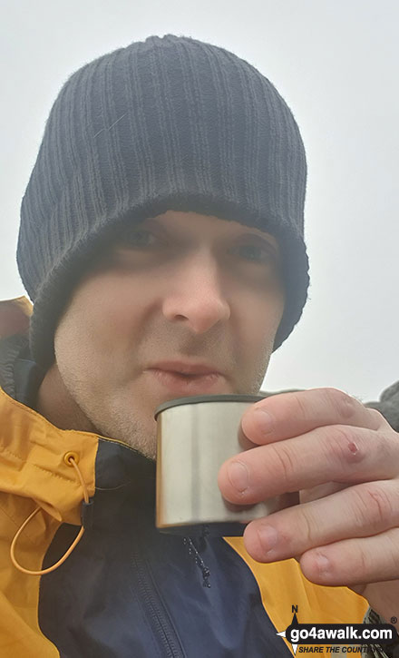Walk ny121 Simon's Seat from Barden Bridge, Wharfedale - Having a brew on the top of Simon's Seat (Wharfedale)