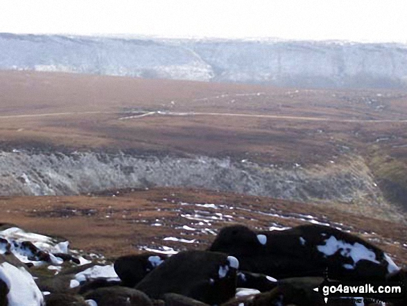 The Northern Edge of Kinder Scout taken from Higher Shelf Stones, looking SW to the Snake Pass (A57).
