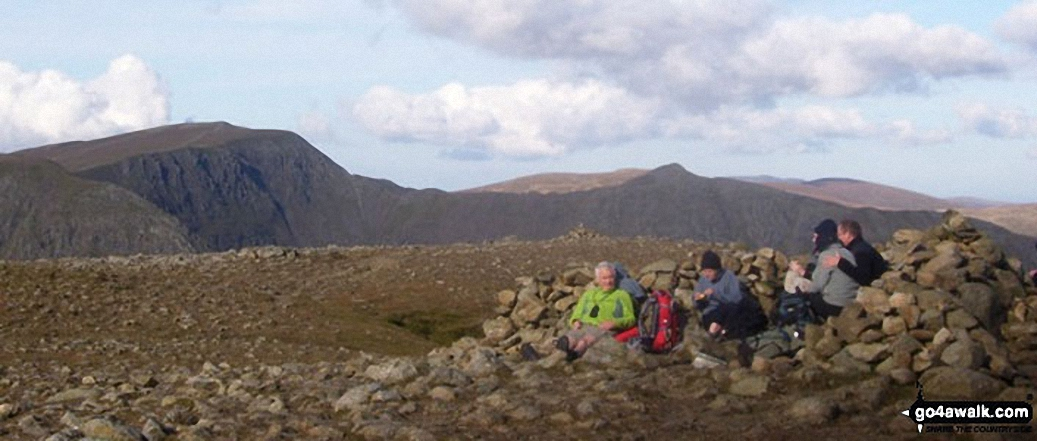 Chelmsford YHA members on Fairfield looking to Helvellyn, Striding Edge and Catstycam
