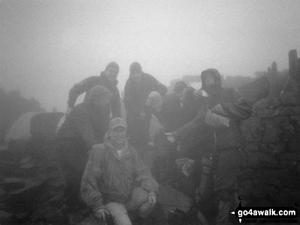 Walk Picture/View: Me (in shorts) and the rest of The 3 Peaks Team on Ben Nevis Summit in Fort William and Loch Linnhe to Loch Ericht, Highland, Scotland by Julian Nye (1)