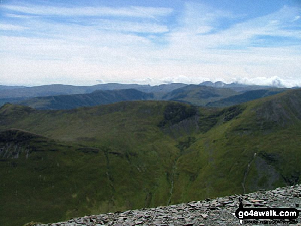South East from Grisedale Pike summit. Walk route map c408 Grisedale Pike and Causey Pike from Braithwaite photo