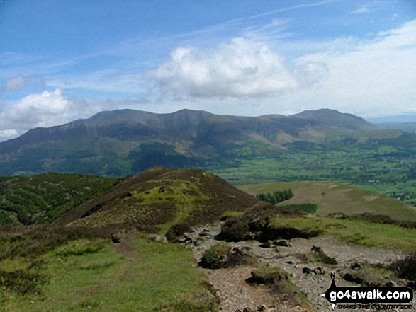 Skiddaw and Blencathra from Grisedale Pike summit. Walk route map c408 Grisedale Pike and Causey Pike from Braithwaite photo