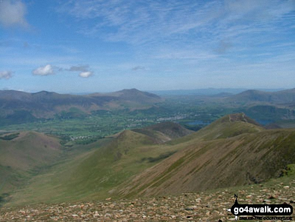 Sleet How (left), Outerside and Barrow (Newlands) (centre) and Causey Pike (right) from Crag Hill (Eel Crag)
