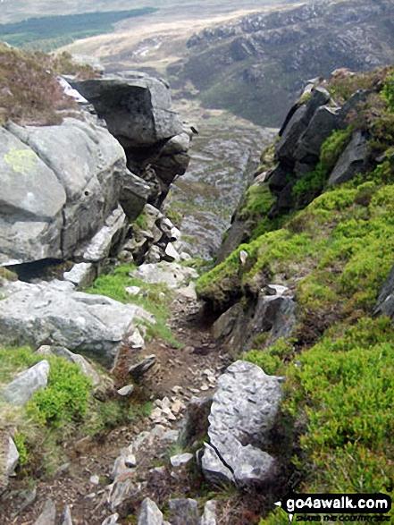 Looking down to Bwlch Drws-Ardudwy from Rhinog Fawr