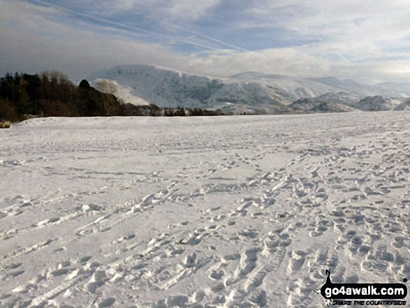 Clough Head, Calfhow Pike, Great Dodd and Watson's Dodd from Castlerigg in the snow. Walk route map c201 Ashness Bridge and Walla Crag from Keswick photo